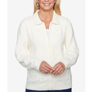 ALFRED DUNNER Petite Zip-Front Chenille Sweater